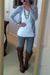 Dark grey leggings, white top, light grey cardigan, medium necklace, brown boots