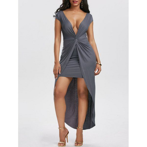 Wholesale Twist Front High Low Hem Tight Dress M Gray Online. Cheap High Low Tee And High Low Coats on Rosewholesale.com