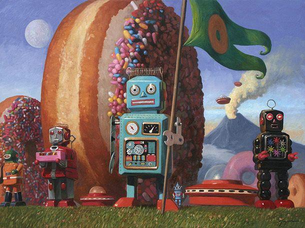 Another amazing painting by Eric Joyner. Robots and Donuts forever! Sources annaberryshake.tumblr.com ufunk.net artist, Eric Joyner