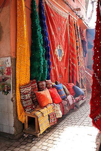 Colours - Carpet Market, Marrakech, Morocco, Africa