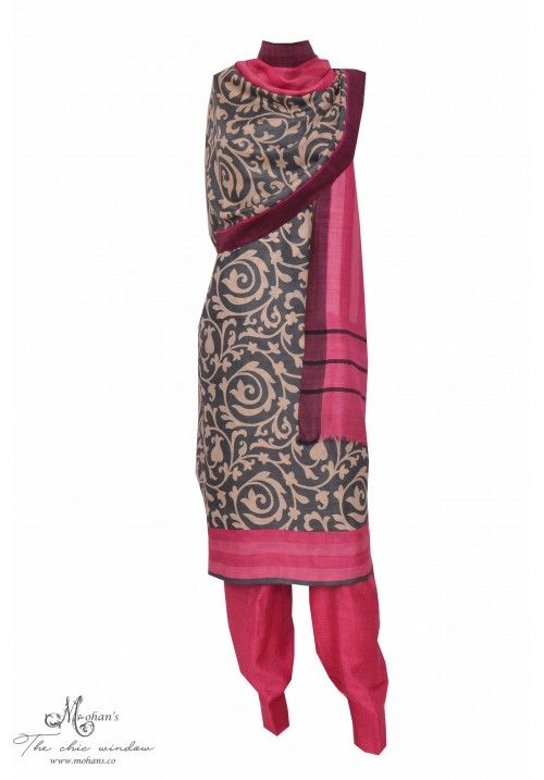 Suave pure pashmina printed suit in grey colour