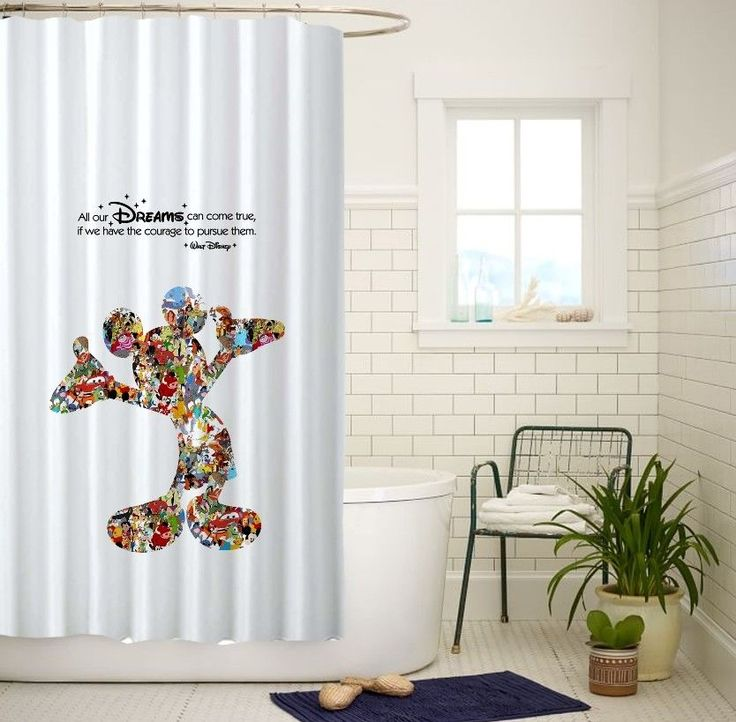 Mickey Mouse Dream Quotes White Custom Shower Curtain Size 60x72 and 66x72 #Unbranded
