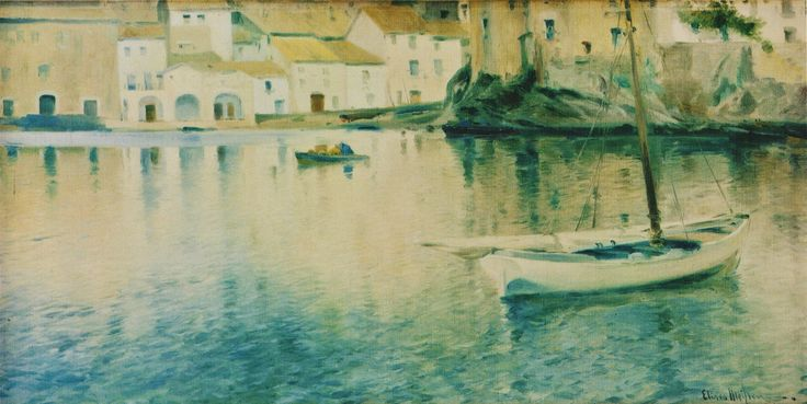 Eliseo Meifrén Roig. Platja gran, Cadaqués, Girona. Óleo sobre lienzo. Firmado. 59 x 119 cm. Ausa, p. 184.