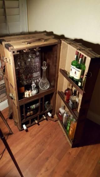 Antique Steamer Trunk Converted Into A Bar Absolutely