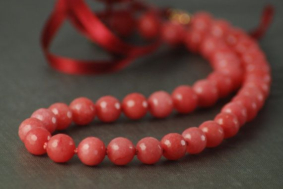 Pink Coral colored stone - Art Reproduction Necklace - Ghirlandaios favourite -  Handknotted coral pink faceted gemstone - ribbon closure