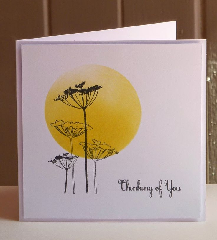 handmade card from Cedar of Lebanon ... clean and simple ... black, white and yellow ... three element design ... masked and sponged sun ... silhouette flowers ... sentiment ... great card!