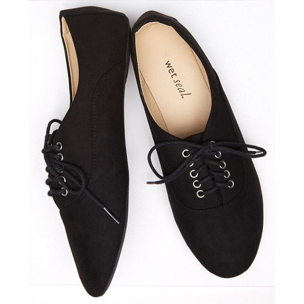 Orly Shoe Corporation (import)  Faux Suede Lace-Up Oxfords (£11) ❤ liked on Polyvore featuring shoes, oxfords, flats, sneakers, black, black oxford flats, black lace up oxfords, black oxfords, oxford shoes and lace up flats