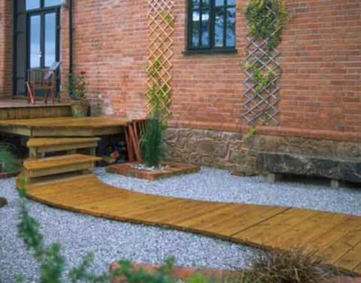 Deck over concrete steps with walkway landscape for Garden decking design ideas