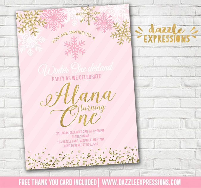 Printable Pink and Gold Glitter Snowflake Birthday Invitation | Winter ONEderland | Wonderland | Snow | Confetti | December or January Birthday | ONE | Christmas Birthday Party | Girls 1st Birthday | Baby Shower | Digital File | Girls Birthday Party Idea | FREE thank you card | Party Package Available | Banner | Cupcake Toppers | Favor Tag | Food and Drink Labels | Signs | Candy Bar Wrapper | www.dazzleexpressions.com