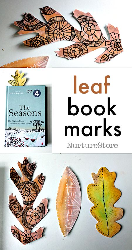 Autumn leaf bookmarks made with black and white pen on watercolor - lovely homemade Thanksgiving gift - easy leaf craft
