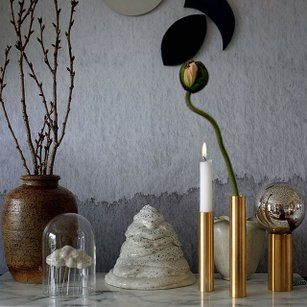 Danish design company by Holmer - candlesticks and vases in brass, and silver/black aluminium.