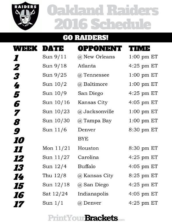 Oakland Raiders Schedule - 2016