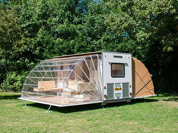 The Marquis caravan is an unusual modern caravan that expands to sleep four and is available to rent at the Urban campsite.