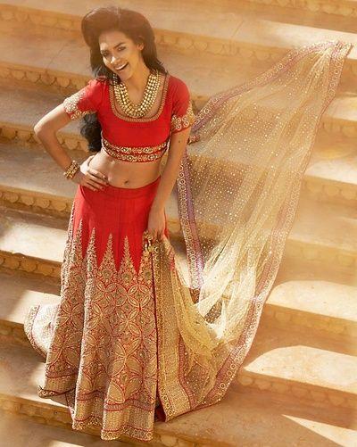 red and gold lehenga, cream net dupatta, mirror work dupatta, gold gota border, gold embroidery lehenga