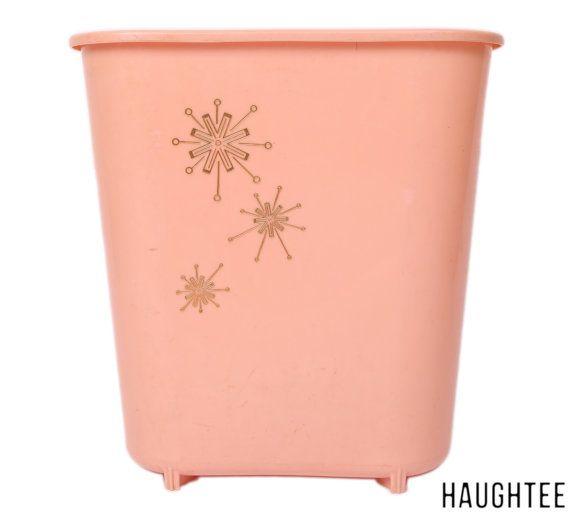 Seau poubelle atomique Vintage - Mid Century Home Decor - accessoire de salle de bain rose - panier à rebuts