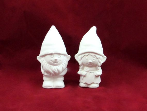 Ready to Paint Gnome Cake Topper Set for Weddings - 5 inches, bisque lawn or garden gnome, outdoor or indoor, wedding cake toppers