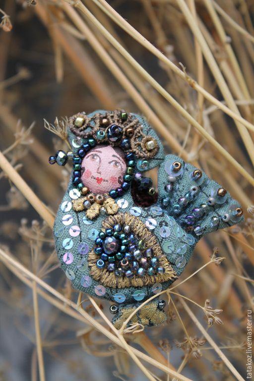 Купить Сказочная птица(брошь) - разноцветный, брошь, брошь ручной работы, текстильная брошь, сказочная птица