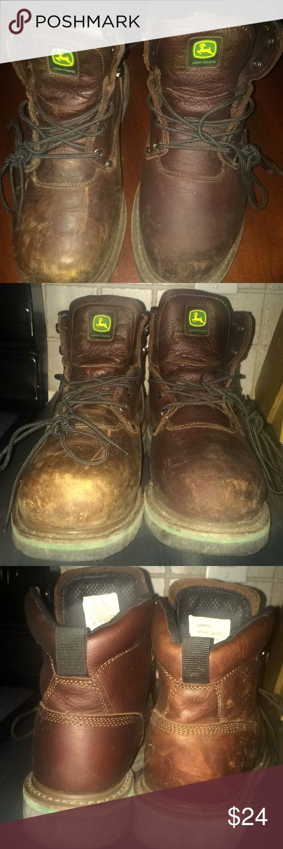 John Deere boots. Sz 9 John Deere boots. Sz 9. Style JD6373. Heat resistant soles. Composite Metatarsal toe box. John Deere Shoes Boots