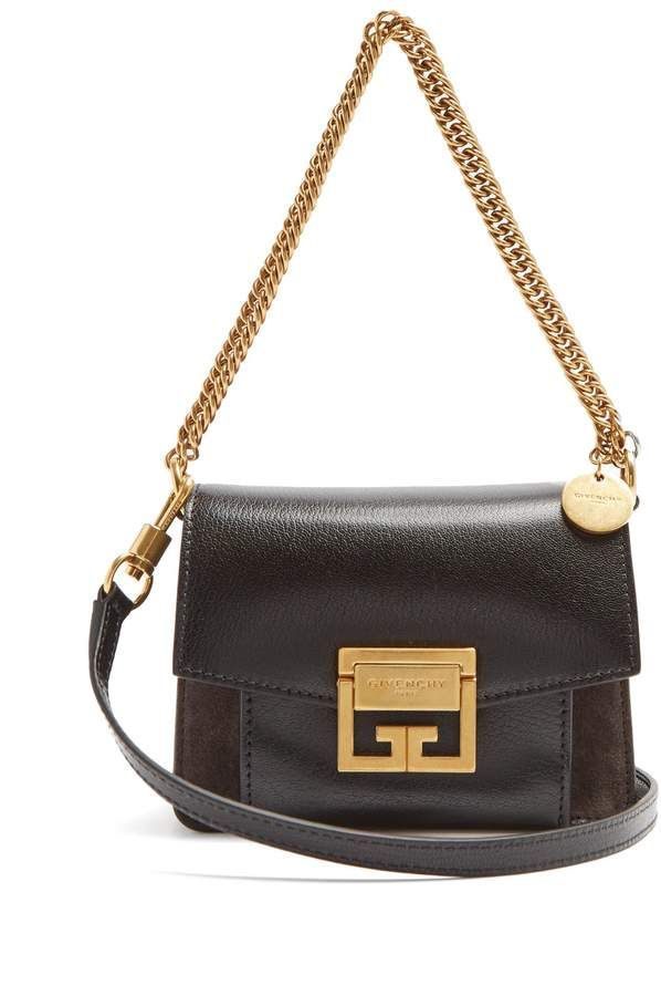 dd0746c07293 Givenchy GV3 mini suede and leather cross-body bag  Designerhandbags ...