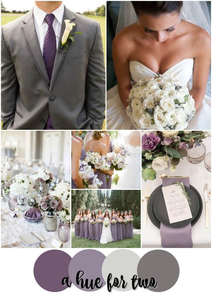 Lavender, Purple, Ivory, Grey Romantic and Elegant Wedding Colour Scheme - Wedding Color Palette - A Hue For Two | www.ahuefortwo.com