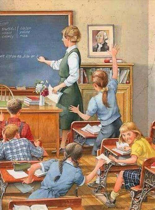 Винтажные открытки школа