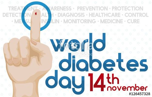 Diabetes Day with Hand with Blood Drop and Reminder Date