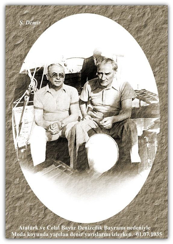Atatürk ve Celal Bayar Denizcilik Bayramı nedeniyle Moda koyunda yapılan deniz yarışlarını izlerken. 01.07.1935