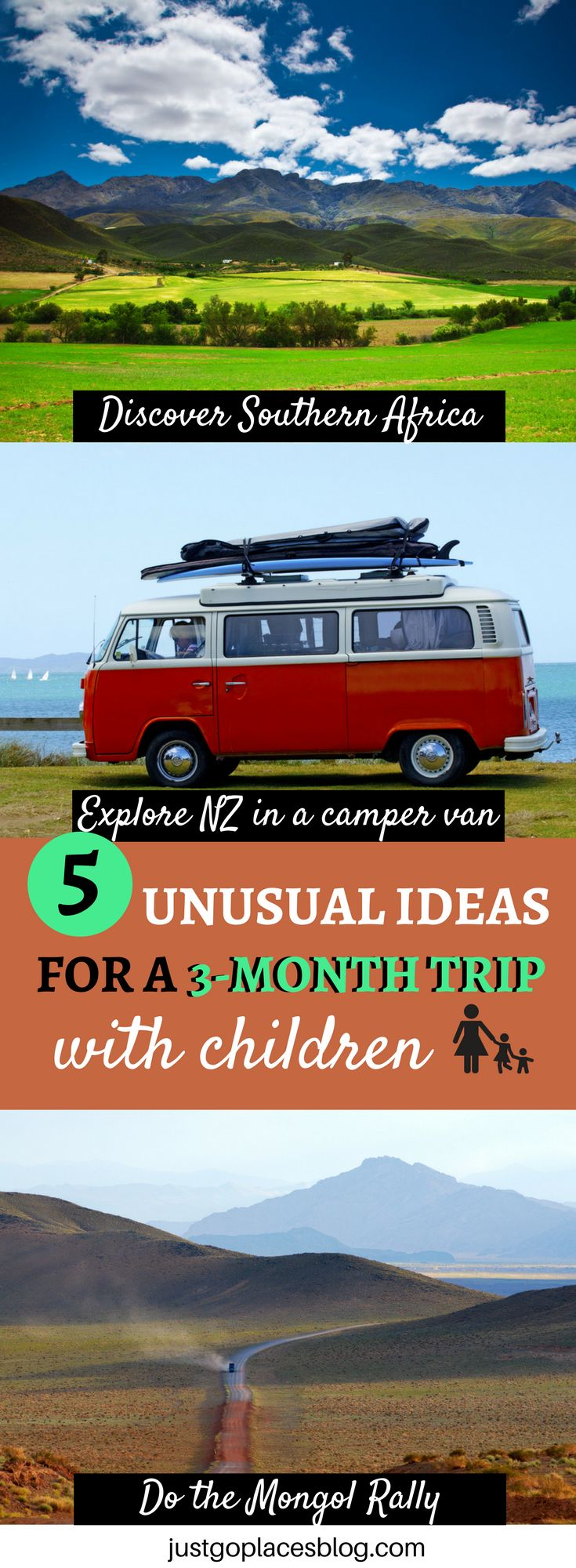 Tired and bored of the traditional family holiday? Check these unusual three month sabbatical ideas for a family escape from reality including travel New Zealand in a Camper Van,  Road Tripping the USA, the Mongol Rally and much more!!!  #FamilyTravel #TravelWithKids #FamilyItinerary - via @justgoplaces