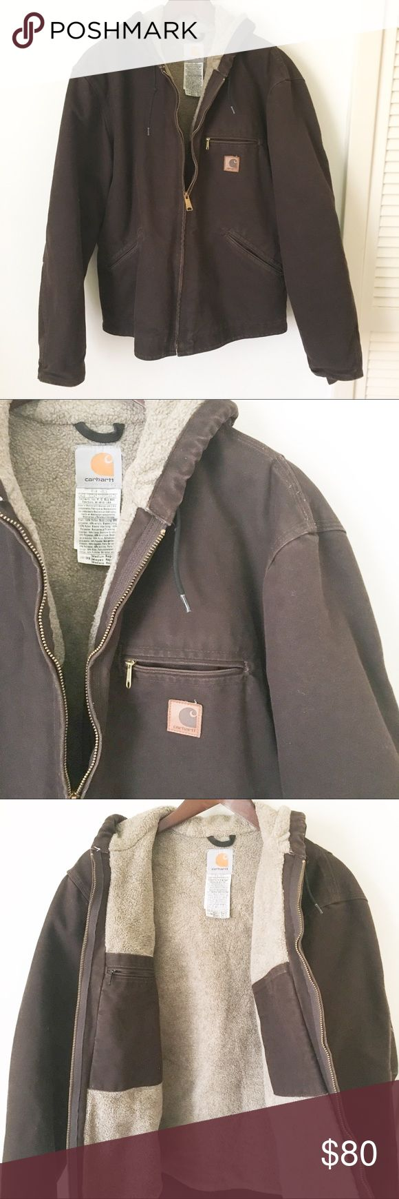 Carhartt Sherpa Lined Winter Jacket Great shape! Gently worn, minimal signs of wear, if any. Used for one winter season, no longer fits. Great winter jacket. Heavy duty. Quality Carhartt materials. Classic brown. Carhartt Jackets & Coats
