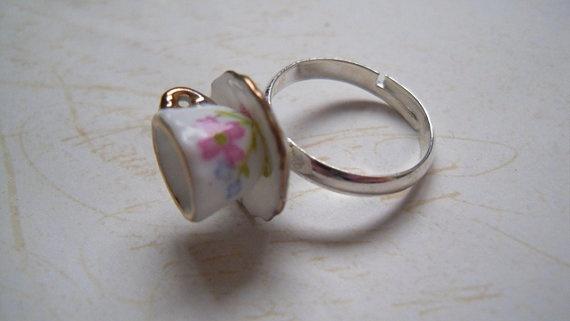 """Tea Time"" Floral Tea Cup Ring, Teacup, Cute, Whimsica"