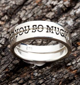 """Silver Love You Couple Rings. Promise Ring design with """"LOVE FOR YOU SO MUCH"""" inscription."""