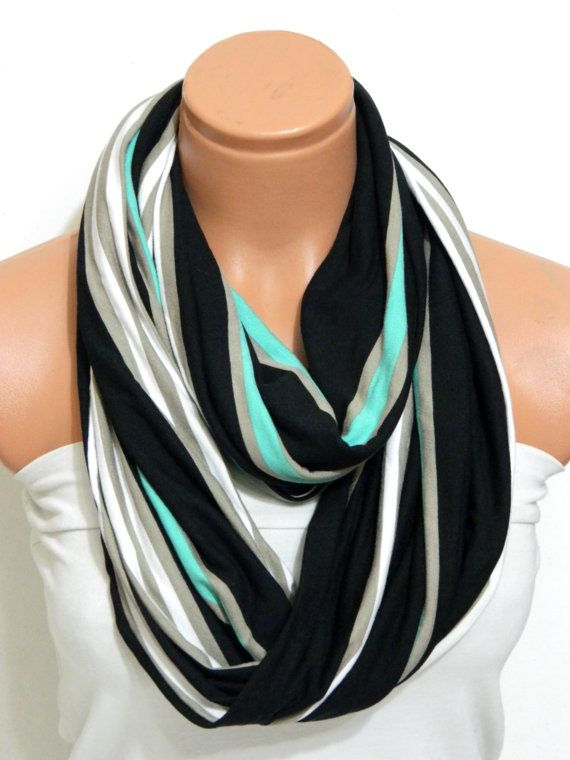 Neon Infinity Scarves textile NeonBlack by WomensScarvesTrend