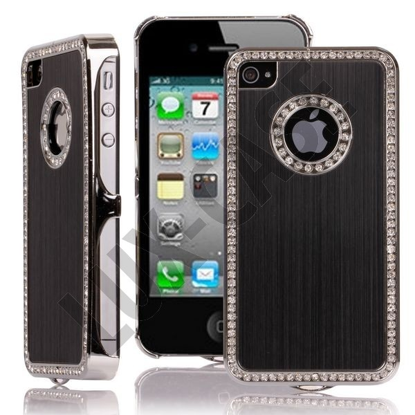 Jewel Silver Edge (Svart) iPhone 4/4S Deksel