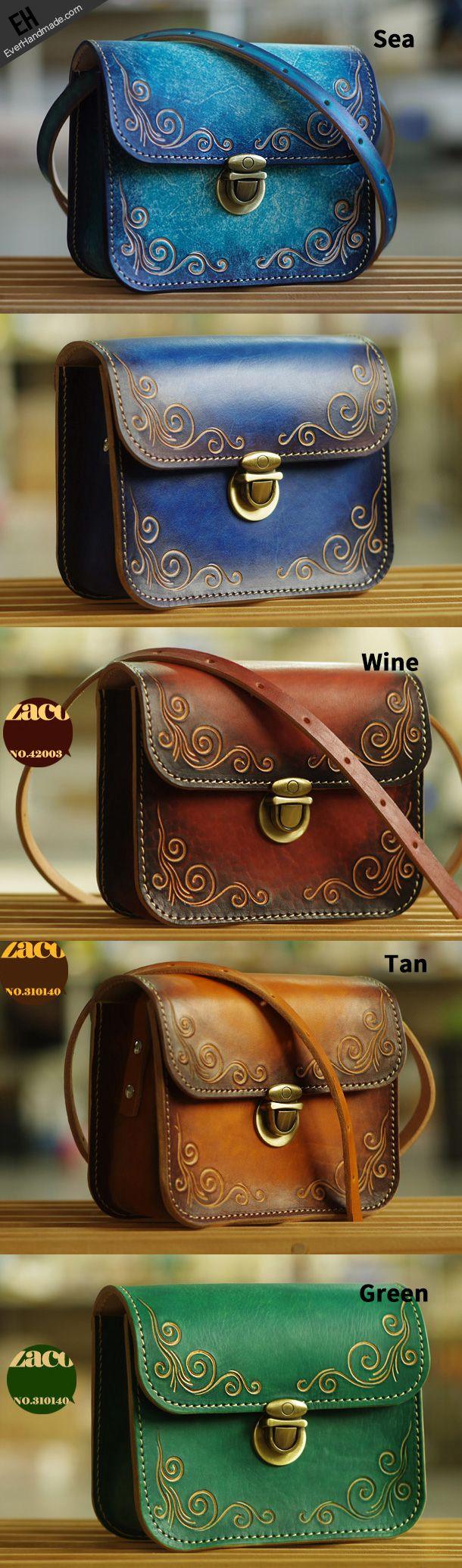 Handmade leather shoulder bag crossbody bag purse vintage carved green for her