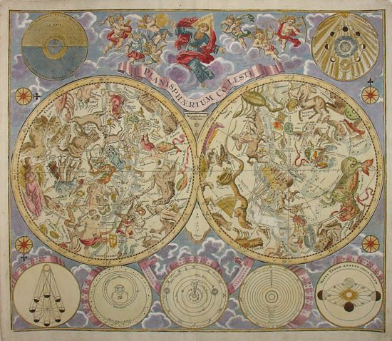 """REIN OVER THE HEAVENS: Variations on this double hemisphere celestial map, """"Planisphaerium Coeleste,"""" were published from 1707 through most of the 18th century. This version by German engraver Melchior Rein, c. 1725-1730, features seven smaller inset astronomical diagrams and an elaborate illustration of a bearded male figure with a halo and outstretched arms (presumably God) surrounded by putti."""