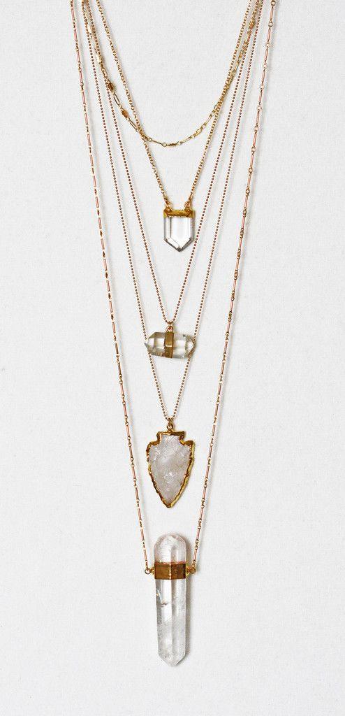 CRYSTAL pencil necklace   Kei Jewelry
