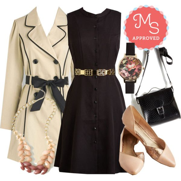 In this outfit: I'll Shake My Chances Dress, East Coast Tour Coat, Berry Good Harvest Necklace, After Flowers Watch, Styled for Miles Bag, Advantage Wedge #fall #workwear #minimalist #neutrals #outfits #ootd #chic #nyc #dresses #ModCloth #ModStylist #fashion