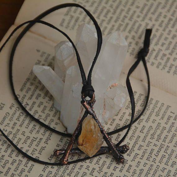 electroformed triangle necklace citrine necklace twig