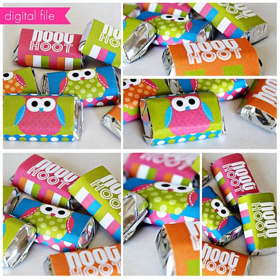 Polka Dot Owl Theme - Printable Candy Bar Wrappers- Mini Chocolate Bar Wrapper- Printable Party Favors - Owl Party Printables