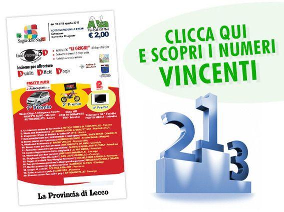 Eventi News 24: Newsletter Altavalsassina - Premi Lotteria Sagra delle Sagre 2013