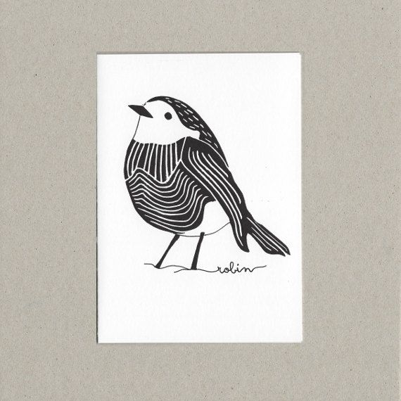 Christmas Robin - Lino Print Card - Eco Friendly - Christmas Cards -  Made in Ireland