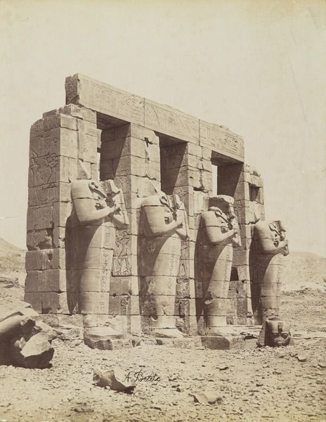 "grandegyptianmuseum: "" View of the Osiride Columns of the Second Court, Ramesseum, Thebes. 19th century, by Antonio Beato (1832-1906). The Ramesseum is the mortuary temple of Pharaoh Ramesses II, built in the Theban necropolis in the 13th century..."