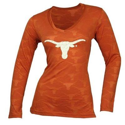 Texas Longhorns Women's Burnout II Long Sleeve V-Neck T-Shirt (Orange)