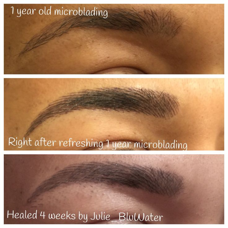 Before, right after and healed microblading which is a ...