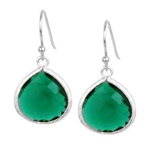 Emerald crystal earrings $34 #jewelry