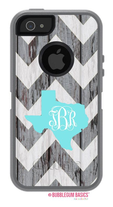 OTTERBOX Defender iPhone 5 5S 5C 4/4S iPod Touch 5GCase Distressed Wood Chevron State Initials Personalized Monogram