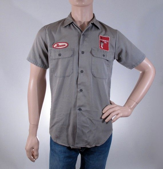 Vintage mens shirt 70s distressed mechanic shirt size for Mechanic shirts custom name patch