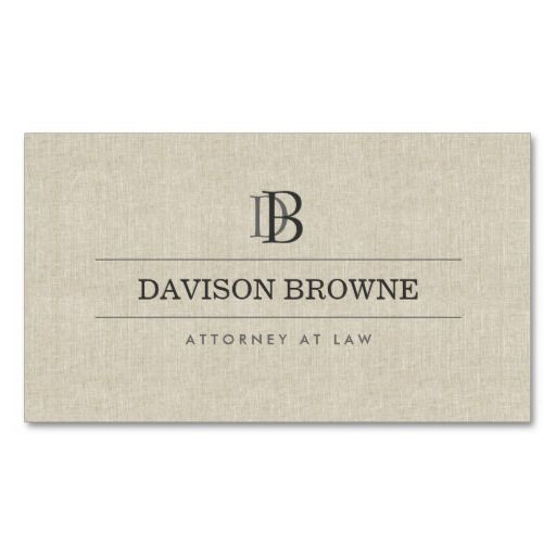 YOUR INITIALS LOGO/MONOGRAM on Faux Linen Business Card Template - customize the front and back with your own info. Great for attorneys, accountants, lawyers, financial professionals, networking and more. Printed on high quality card stock. Fast shipping.