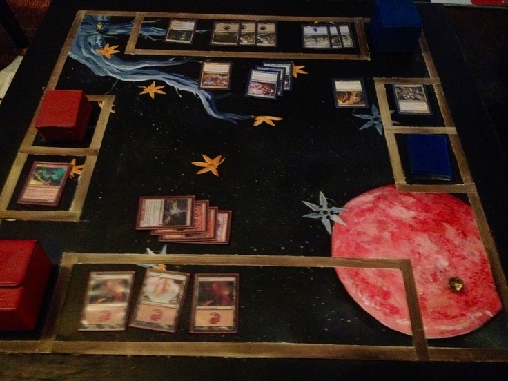 Custom painted magic the gathering battle arena the table was salvaged from a frat house and - Magic the gathering game table ...