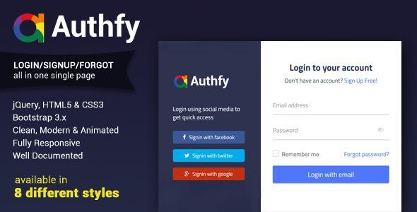 Authfy Responsive Login And Signup Page Template Shablony Prilozheniya Socialnye Seti